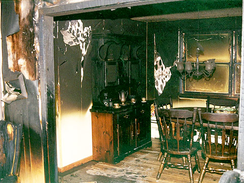 The Dining Room Adjacent To Living In InterFIRE VR Burn Note Extent Of Damage Compared Upstairs Bathroom See Below